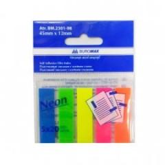 """Блок бумаги  липкий 45х12/20лх5цв """"BuroMAX"""" 2301-98 пласт.неон"""