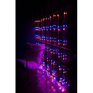Гирлянда Водопад белый провод белая матовая круглая лампа 3 м Х 1.5 м 240LED микс)