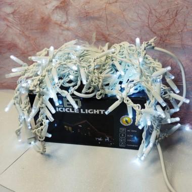 Гирлянда Дождик белый провод 3,3мм с вилкой матовая круглая лампа уличная 3 м   120LED белый