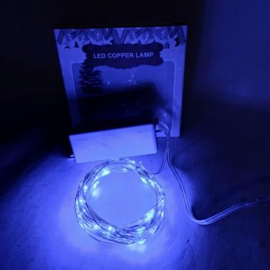 Светодиодная гирлянда нить 100LED 10 м. от сети синий