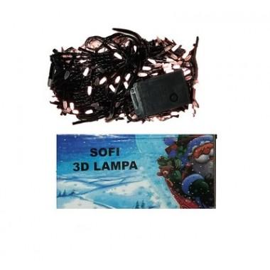 Светодиодная гирлянда SOFI 29,5м 400LED свеча матовая с черным проводом 8 режимов  тёплый белый