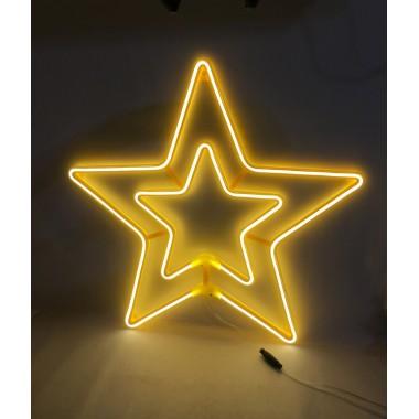 Светодиодная гирлянда декорация фигура на окно Звезда 58/58 см с прозрачным проводом тёплый белый