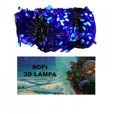 Светодиодная гирлянда SOFI 40м 400LED свеча матовая с черным проводом синий