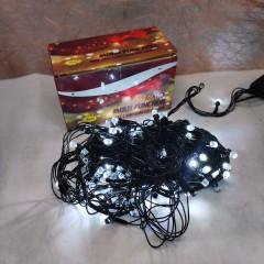 Светодиодная гирлянда  18 м 200LED кристал с черным проводом 8 режимов бёлый