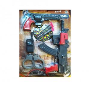 Набор Полиции автомат+пистон на присосках+мишень на листе 29-43см.