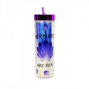 Бутылка для воды Beijing с трубочкой Mermaids are real 400 мл фиолетовый CP7194