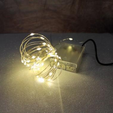 Гирлянда медный провод на батарейках АА 5 м 50LED+USB теплый белый