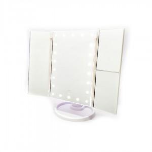 Зеркало настольное с LED подсветкой квадратное 4 в 1 23,5х18х3,5 см цв. Белый