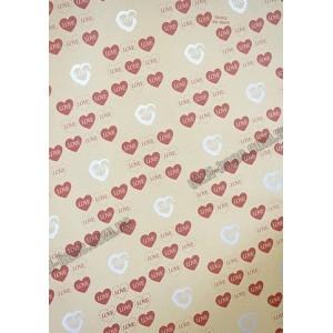 Папір пакувальний крафт 70 г / м2, 52 * 75см, 50 шт в ОРР. Сердечка червоні з сріблом