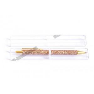 Ручка з гелем і глитером, металева, кулькова, поворотна, рожеве золото. В коробці. Серія Be positive