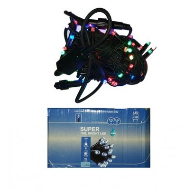 Светодиодная гирлянда 10 м 100LED лампочка с чёрным уличным шнуром мульти