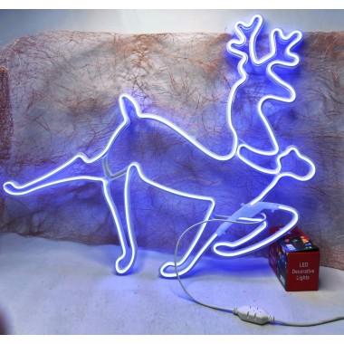 Светодиодная гирлянда декорация фигура на окно олень 70/56см неоновая с белым проводом синий