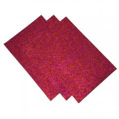 Фоаміран з глитером   принт сердечка 20*30см, EVA,  Флексика, 2мм. 10 арк в ОРР фіолетовий з червони