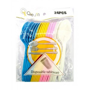 Ложки пластик цветные 24 штуки