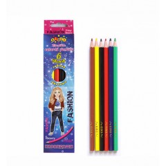 Олівці пластикові кольорові 6 кол, яскраві кольори корпусу, логотип KIDIS, STAR MODEL