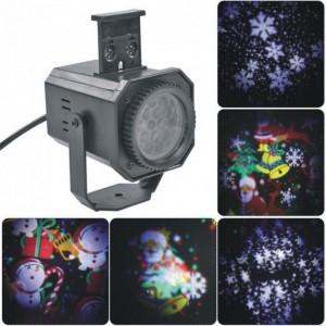 Лазерный проектор LED Projection Lamp с 4 сменными картриджами с разными рисунками уличный мульти