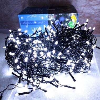 Гирлянда Дождик черный провод прозрачная коническая лампа 7 м 320LED белый