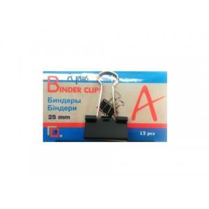Биндер 25мм A PLUS метал чорний  144шт/пач