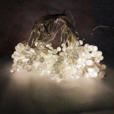 Светодиодная гирлянда роса с капельками Snow globe 300LED штора водопад 3*1,45м тёплый белый