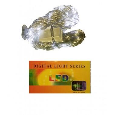 Светодиодная гирлянда  2,5 м-2,5 м 320 LED штора-водопад с прозрачным проводом 8 режимов белый