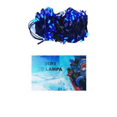 Светодиодная гирлянда SOFI 20 м 200LED свеча с черным проводом 8 режимов синий
