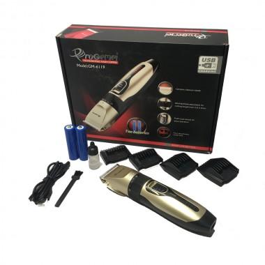 Машинка для стрижки  PROGEMEI GM-6119 USB+аккум. 2шт. 18650 4 насадки цв. бордо