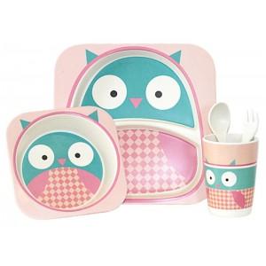 Набор посуды Bamboo kids set 5 предметов розовый CP7215