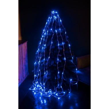 Светодиодная гирлянда  2,5 м-2,5 м 320 LED штора-водопад с прозрачным проводом 8 режимов синий