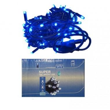 Светодиодная гирлянда 10 м 100LED лампочка с чёрным уличным шнуром 8 режимов  синий