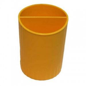 Стакан для ручек пластиковый (жел) (4) (24)