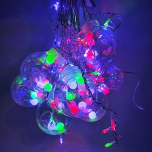 Гирлянда 10 большых шариков прозрачный провод 3 м. микс