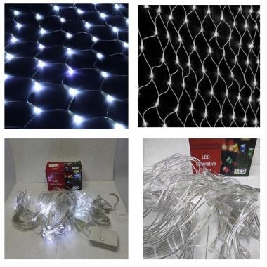Светодиодная гирлянда 1,5 м- 1,5 м 100 LED сетка с прозрачным проводом 8 режимов  белый