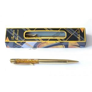 Ручка з гелем і глитером, металева, кулькова, поворотна, жовте золото. В коробці. Серія Geometry