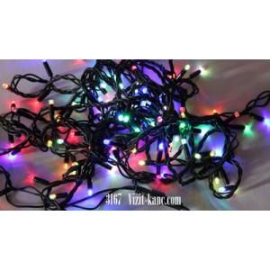 Светодиодная гирлянда 10 м 100LED лампочка с чёрным уличным шнуром 8 режимов мульти
