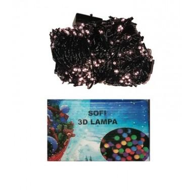 Светодиодная гирлянда SOFI 30м 500LED свеча матовая с черным проводом 8 режимов  белый