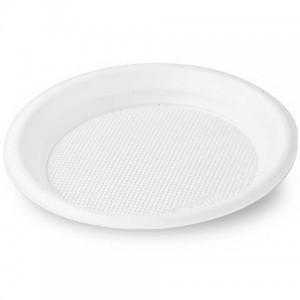 Тарелка пластик одноразовая средняя d=165 (100)