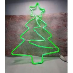 Светодиодная гирлянда декорация фигура на окно Елка 65/33 см неоновая с белым проводом зеленый