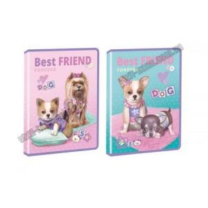 Тека А4 на блискавці, пластикова, з глітером KIDIS , серія BEST FRIEND (собачки)