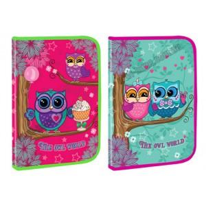 Тека А4 на блискавці, пластикова, з глитером KIDIS cute little owl