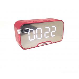 Часы электронные KIMISO мини Bluetooth FM колонка  DC 5V TF CART AUX  красный