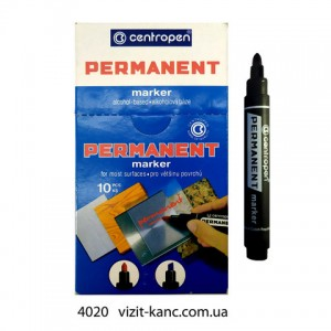 Маркер Centropen 8566 перманентный толстый круглый черный  (10)