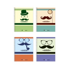 "Блокнот для нотаток ф.В5, бок. пружина, 60 арк. офсет, клітинка  ""Серія Mustache"""