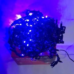 Светодиодная гирлянда 10 м 200LED бахрома с черным проводом 8 режимов  синий