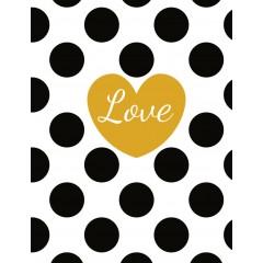 Блокнот В6 Астра Love Golden heart 80 листов условная клетка на резинке