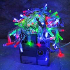 Гирлянда Дождик белый провод 3,3мм с вилкой матовая круглая лампа уличная 3 м Х 1.5 м  120LED микс)