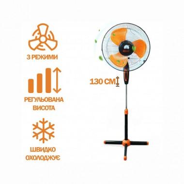 """Вентилятор напольный CHAHGLI CROWN FS-1619 """"16"""" 40W 3-х лопастной черный"""