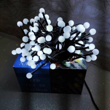 Гирлянда черный провод белая матовая круглая лампа 3.5 м 100LED 8 режимов белый