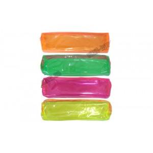 Пенал-косметичка з кольорового прозорого ПВХ, з малиновою блискавкою Помаранчевий, зелений, малинови