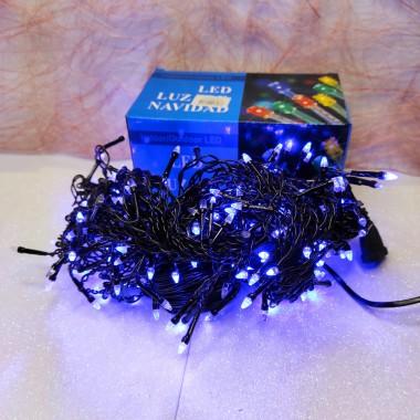 Гирлянда Дождик черный провод прозрачная коническая лампа 5 м 240LED синий