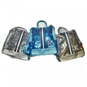 Рюкзак женский сумка в паетках К  28*29см серый,черный,роз,коричн,голуб